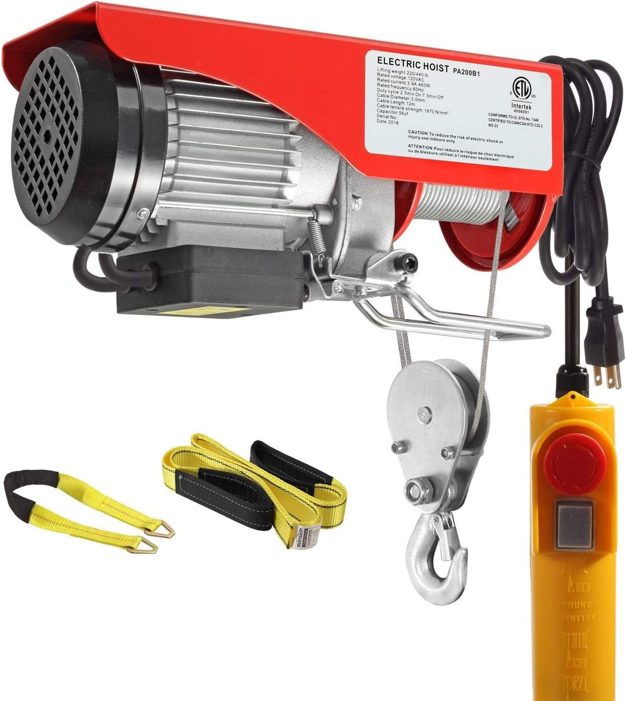 Partsam 440 lbs Lift Electric Hoist Crane Remote Control Overhead Crane Garage Ceiling Pulley Winch Bundled with Towing Strap 2PCS 10Feet x 2inch Bundle Items w//Emergency Stop Switch