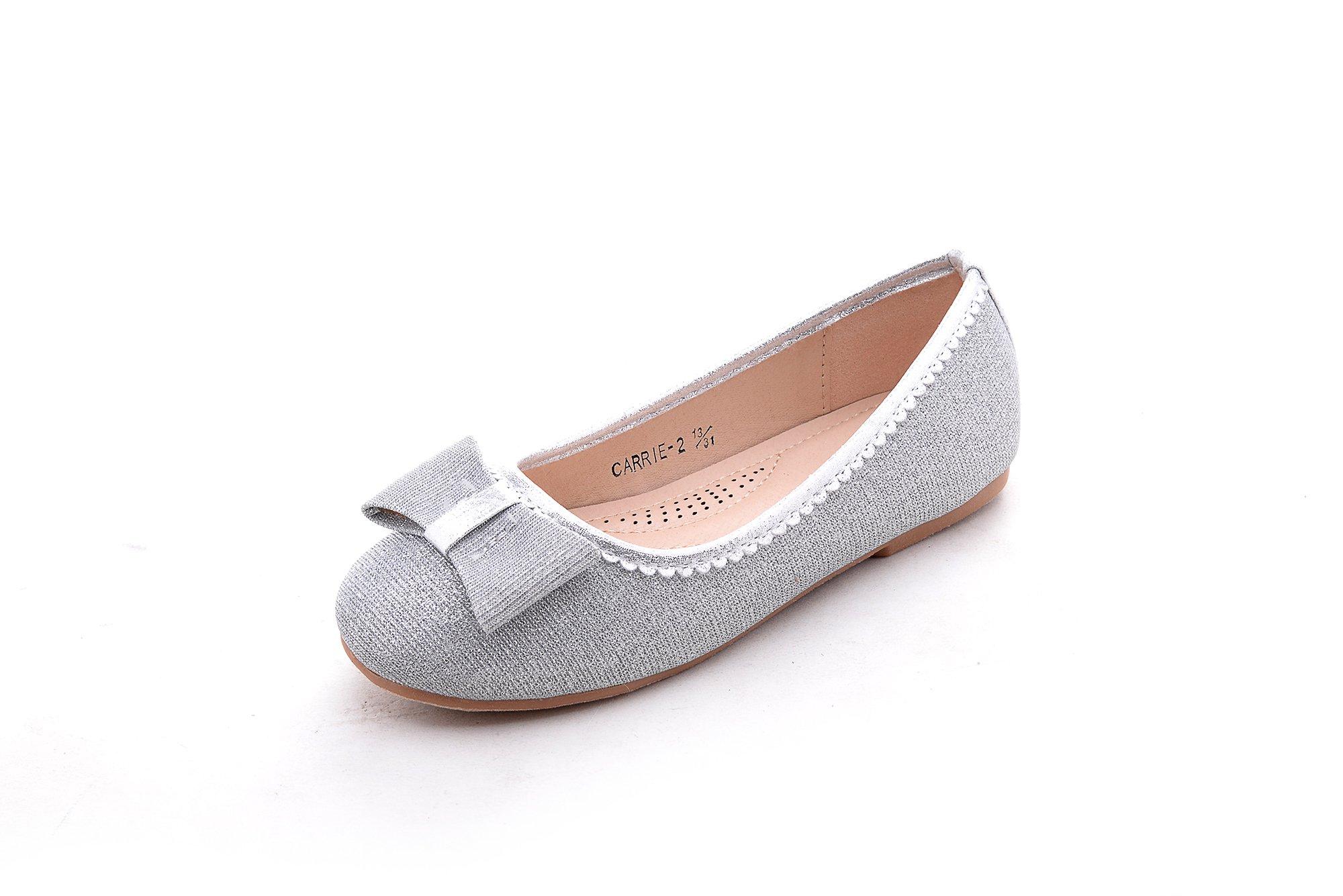 Mila Girls Casual Comfortable Slip On Glitter Ballet Flat Dress Shoes for Girl Wedding Party, Carrie-2 Sliver 2