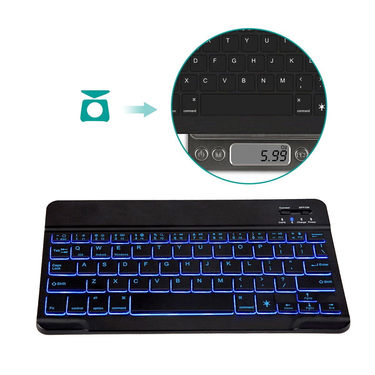 Universal Wireless Keyboard Backlit 7-Color Ultra Slim Portable Zinc Alloy Wireless Bluetooth 3.0 Keyboard for iOS iPad Pro, iPad Air, iPad Mini, Android, MacOS, Windows Tablets PC Smartphone by Smart Tech (Image #8)