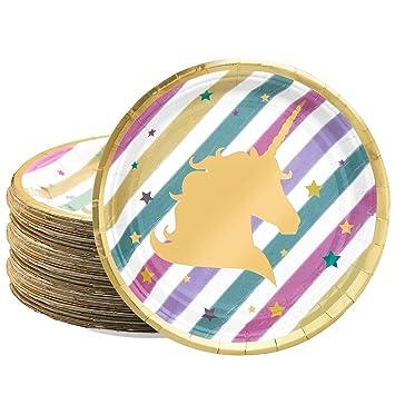 Jolintek Platos de Papel Desechable Diseño de Unicornio y Arcoiris,Unicornio Cumpleaños Vajilla, Accesorio de Decoración de Fiesta de ...