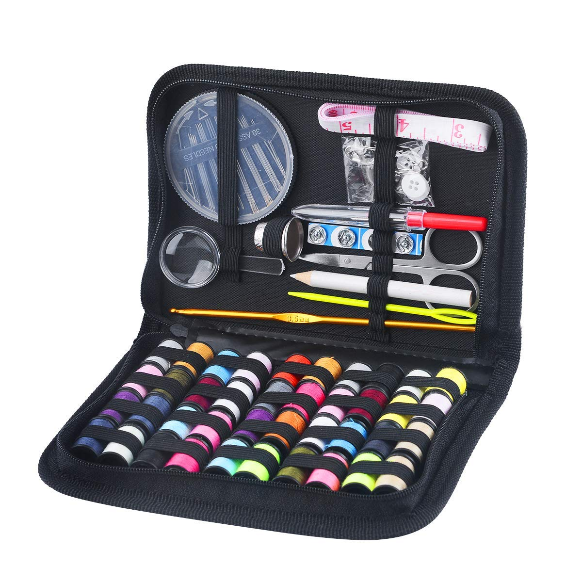 130 Mini Sewing Kit, Southsun DIY Premium Sewing Supplies for Kids, Beginner, Travel, Emergency with Scissors, Thimble, Thread, Needles, Tape Measure, Carrying Case and Accessories by Southsun