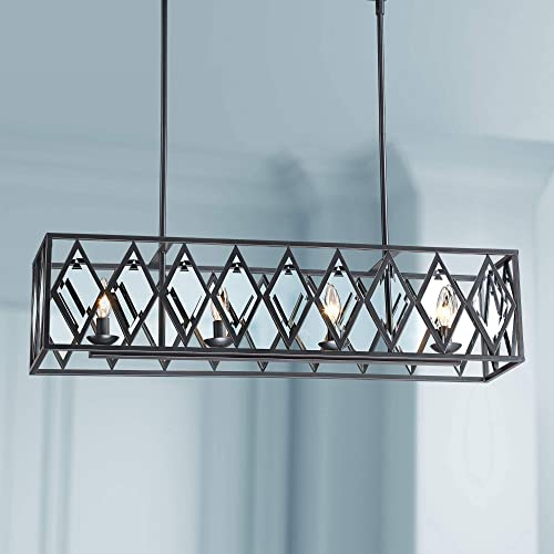 Ravinder Bronze Rectangular Island Pendant Chandelier 34 Wide Modern Rustic Diamond Crystal 4-Light Fixture for Kitchen Island Dining Room – Franklin Iron Works