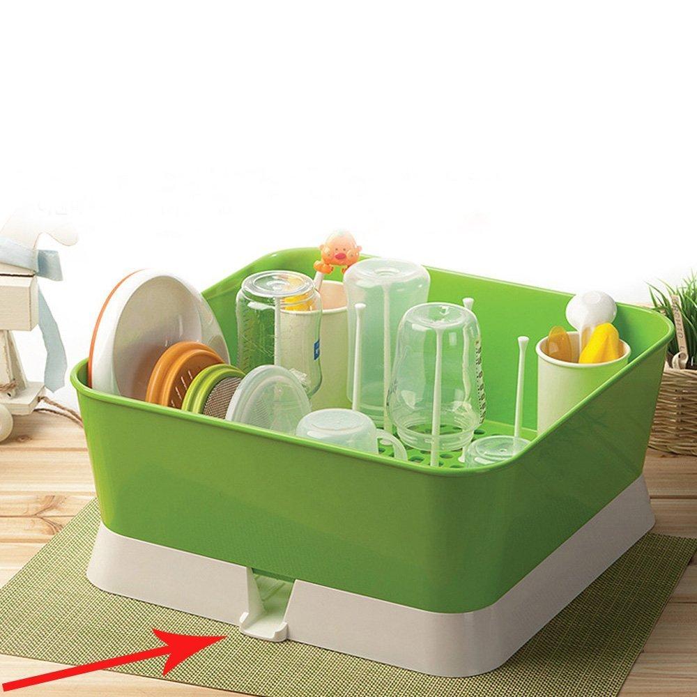 Baby Nursing Bottle Drying Rack Drain Tray Bottle Storage Organizer Basic (Light Green)