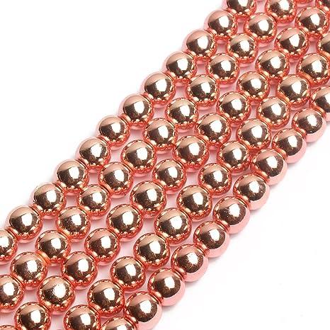 """6mm 8mm 10mm Full 15.5/"""" Gemstone Beads Rose Gold Hematite Beads"""