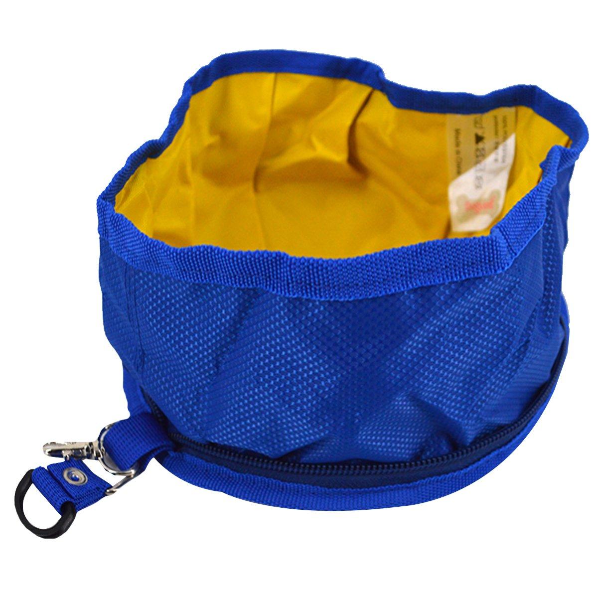 Budd Pet Dog Bowl Folding Doggie Bowl Expandable Travel Food Water Bowl (Navy Blue,S)