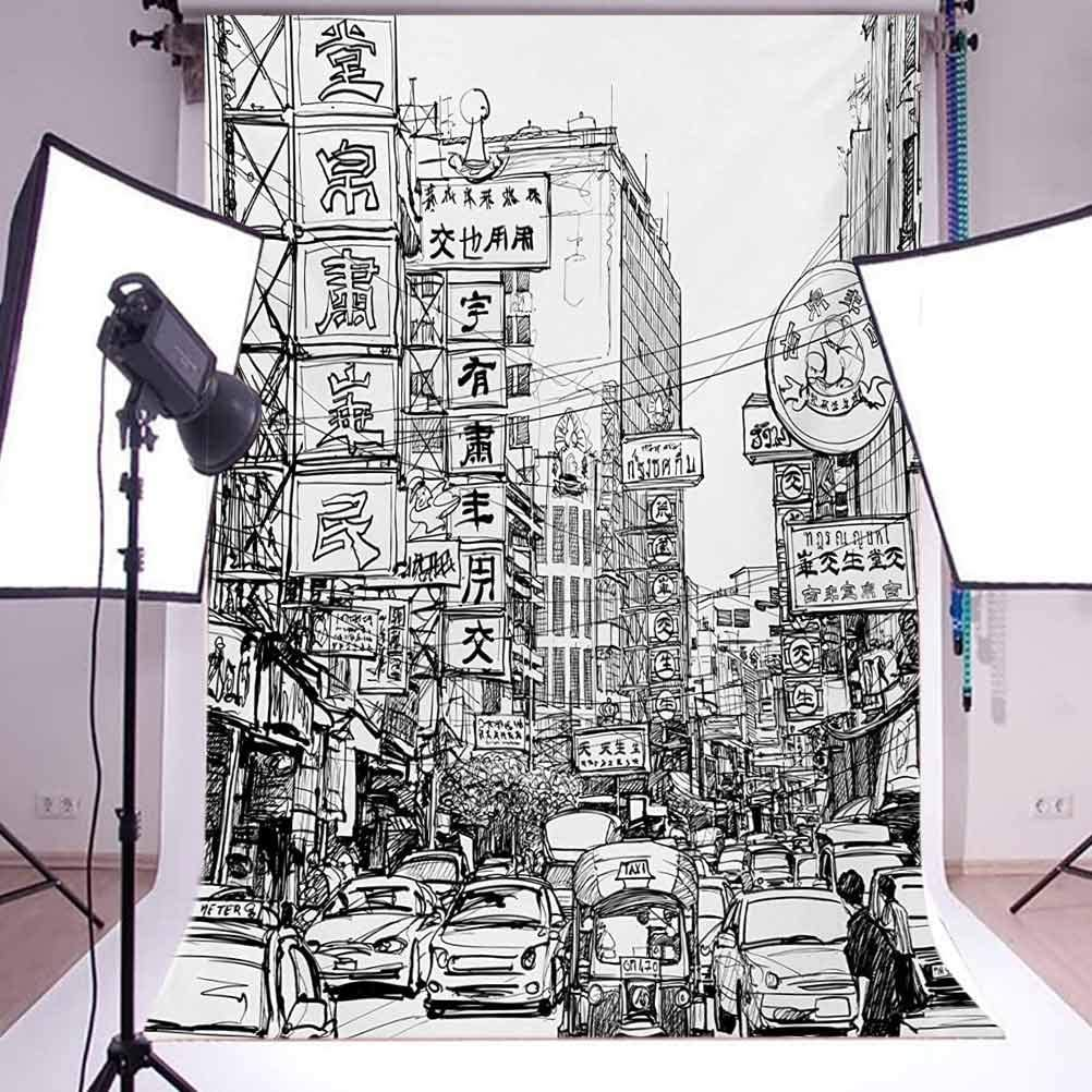 Sketchy 10x12 FT Backdrop Photographers,Illustration of a Street with Signs in Chinatown Bangkok Ancient Historical Art Background for Child Baby Shower Photo Vinyl Studio Prop Photobooth Photoshoot
