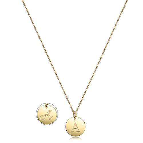 ef08b6372 Image Unavailable. Image not available for. Color: JINBAOYING Initial  Necklace Gold Plated Round Disc Double Side Engraved Adjustable  Personalized Letter ...