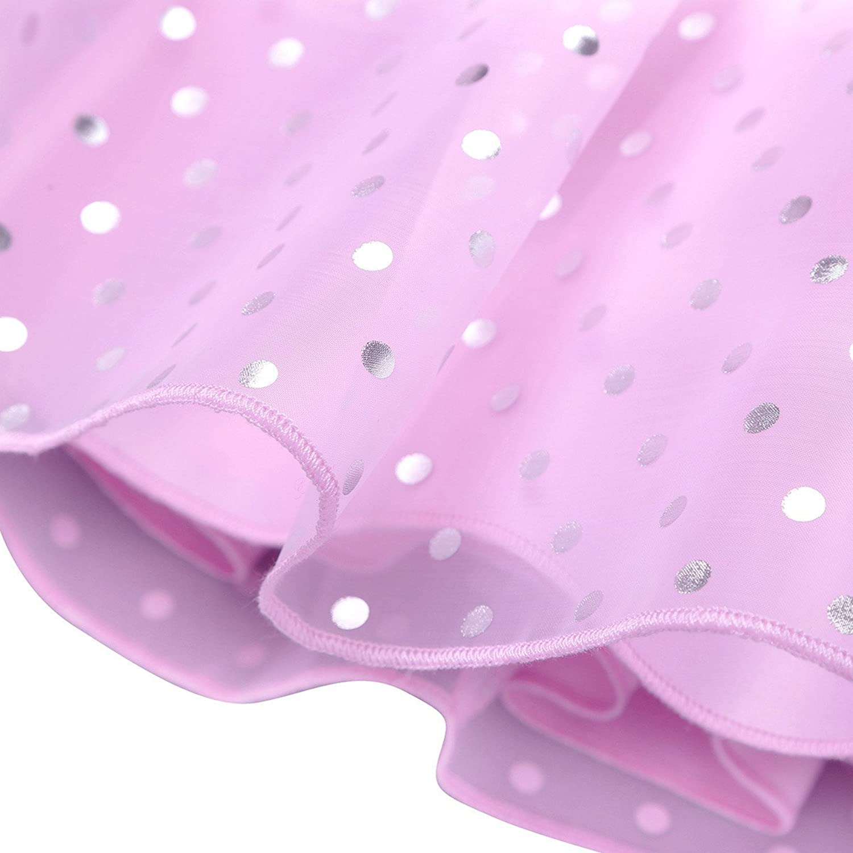 iiniim Baby M/ädchen Kleid Festlich Kleid Prinzessin Polka Dots Kleid Halloween Weihnachten Fasching Partykleid Ballkleid Gr.74-104 Rosa 74-80//9-12 Monate