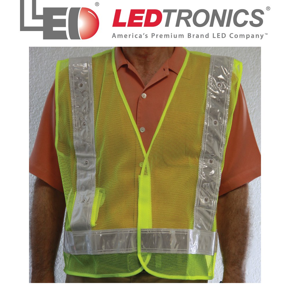 Roadway Lime Green Safety Vest, Flashing RED LEDS, ANSI-107 Class 2, Xtra Large by LEDtronics (Image #1)