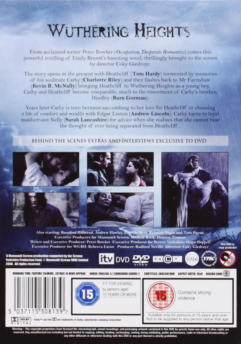 wuthering heights dvd amazon co uk tom hardy charlotte wuthering heights 2009 dvd amazon co uk tom hardy charlotte riley andrew lincoln sarah lancashire burn gorman rosalind halstead rebecca night