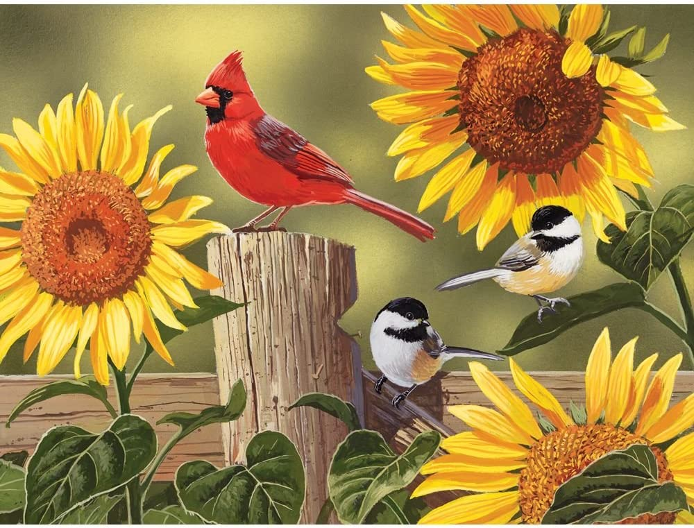 "Bits and Pieces - 500 Piece Jigsaw Puzzle for Adults 18"" x 24"" - Sunflower and Songbirds - 500 Cardinal  Jigsaw by Artist William Vanderdasson"