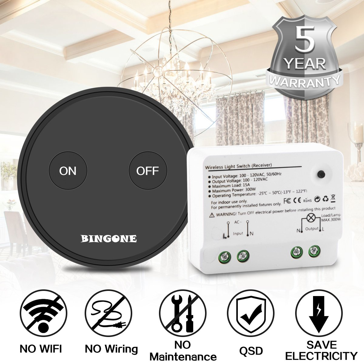 BINGONE Wireless Remote Control Light Switch Kit, Removable On/off ...