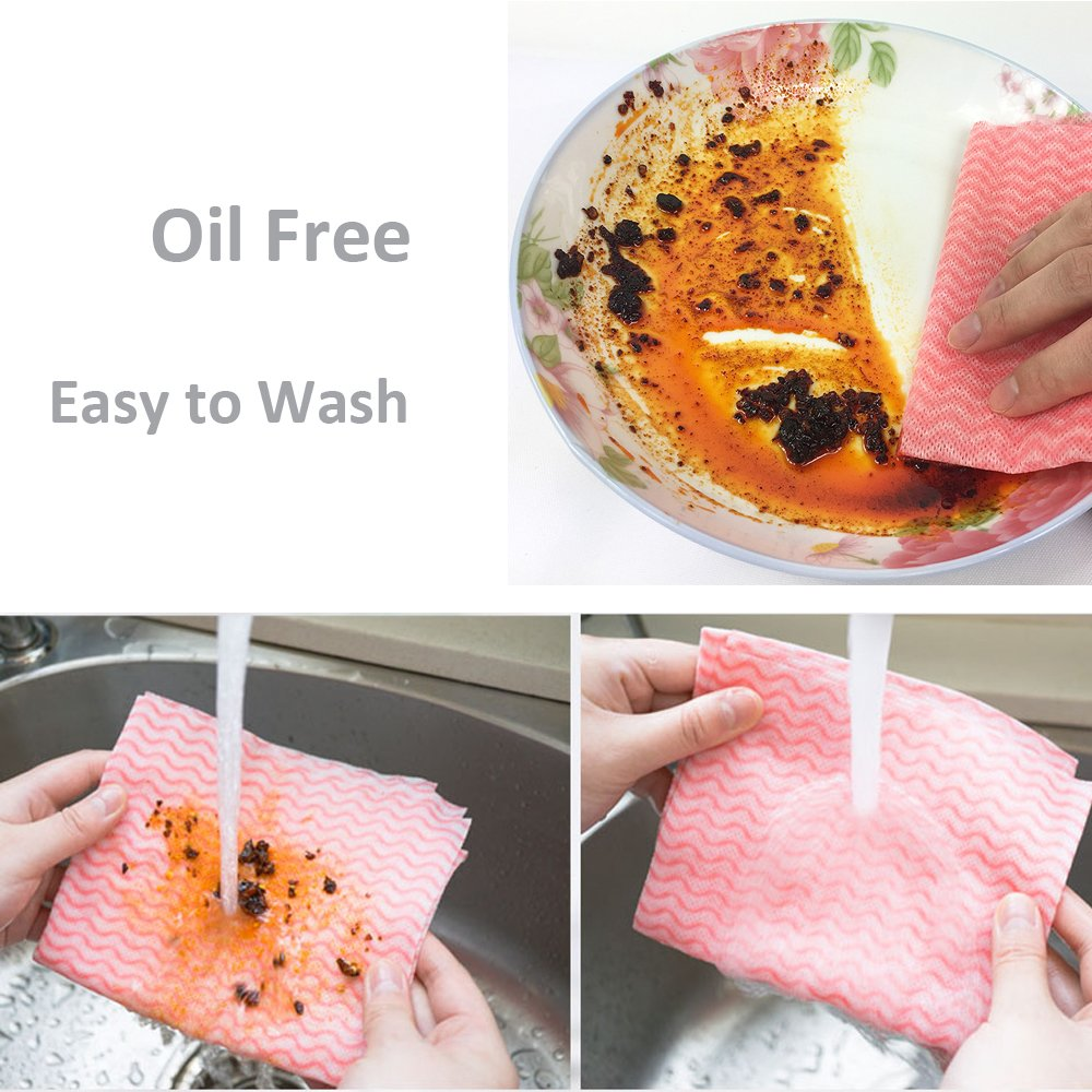 Amazon.com: Disposable Cleaning Towel, TelPal Reusable Kitchen Dish Cleaning Nonstick Wiping Rags Non-Woven Fabric Handy Dishcloth: Health & Personal Care