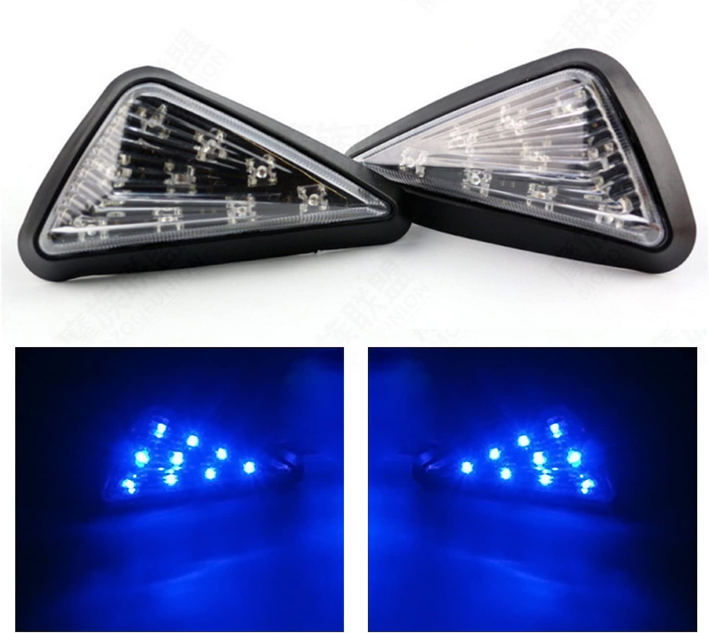 TASWK Triangle Flush LED Motorcycle Turn Signals Blinkers Indicator Lights 1 Pair Blue