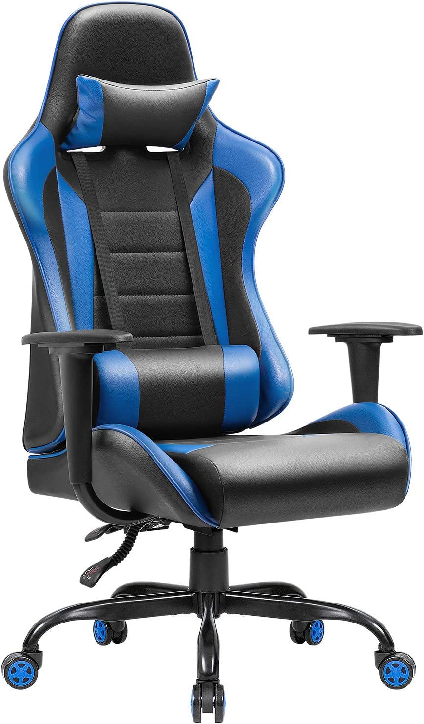 Amazon Com Jummico Gaming Chair High Back Pu Leather Racing Chair Ergonomic Computer Desk Executive Home Office Chair With Headrest And Lumbar Support Blue Furniture Decor