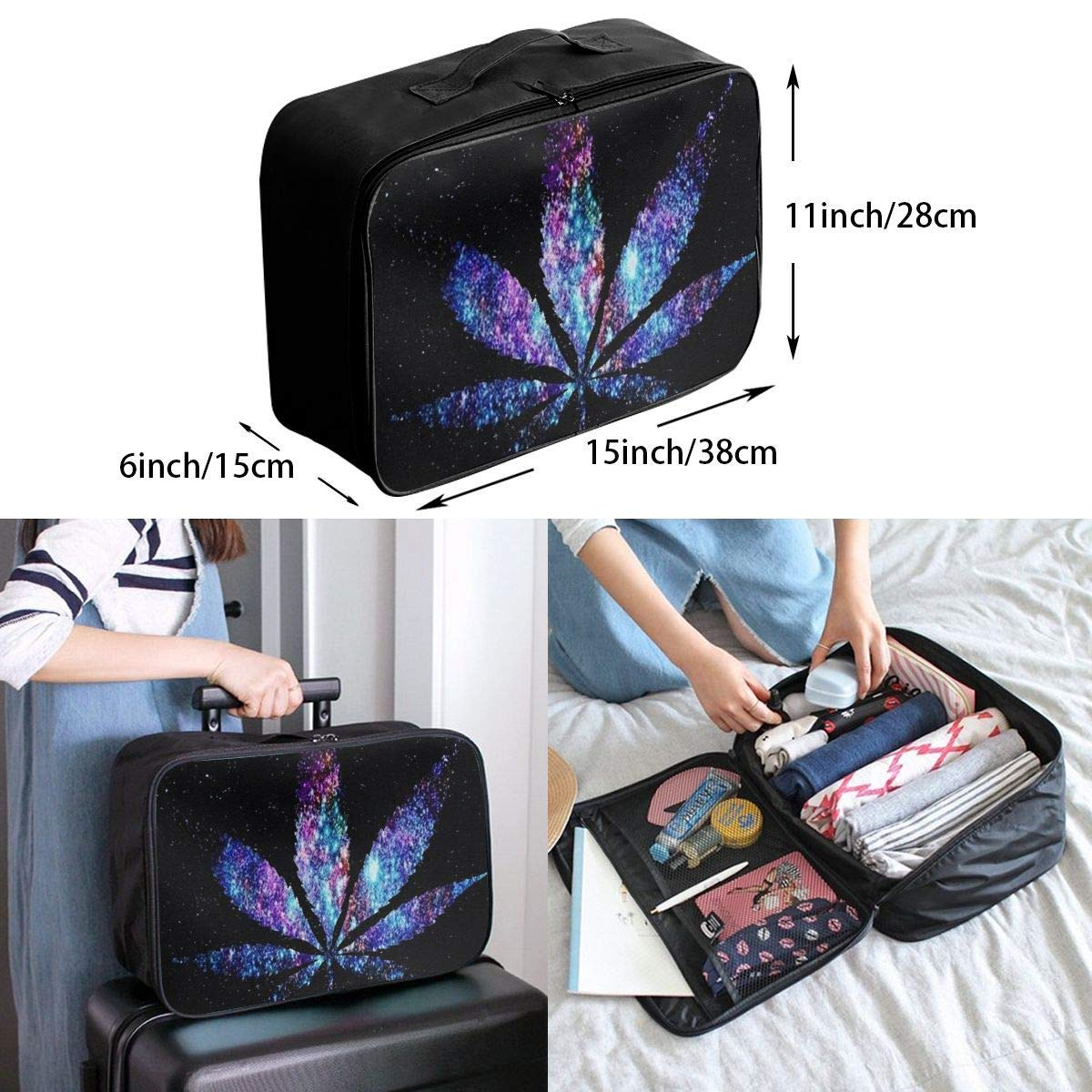 JTRVW Luggage Bags for Travel Lightweight Large Capacity Portable Duffel Bag for Men /& Women Galaxy Purple /& Blue Weed Leaf Travel Duffel Bag Backpack