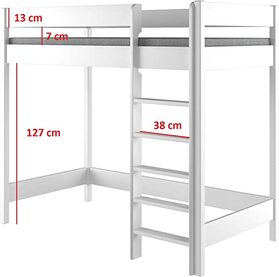 Hubi Loft Bunk Bed Cama alta, madera, Blanco, 200x90x160