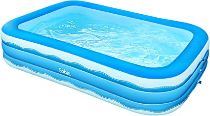 Sable Inflatable Pool 118 X 72 5 X 20in Rectangular Swimming Pool For Toddlers Kids Family Above Ground Backyard Outdoor Blue Sa Hf071 Toys Games
