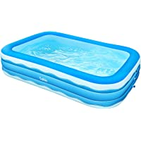 Sable Inflatable Pool, 118 x 72.5 x 20in Rectangular Swimming Pool for Toddlers, Kids, Family, Above Ground, Backyard, Outdoor