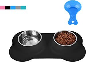 Hubulk Pet Dog Bowls 2 Stainless Steel Dog Bowl with No Spill Non-Skid Silicone Mat + Pet Food Scoop Water and Food Feeder Bowls for Feeding Small Medium Large Dogs Cats Puppies (M, Black)