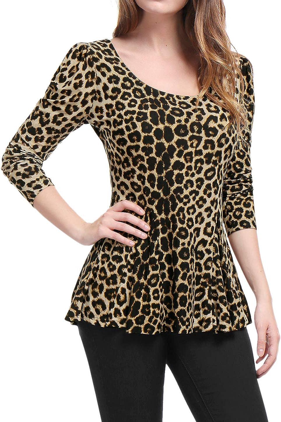 Allegra K Women's Long Sleeves Scoop Neck Peplum Shirt