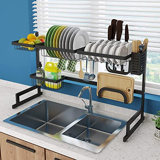 Dish Racks Sink Protector Black 24 in x 12 in  Extra Large Storage Organizer New