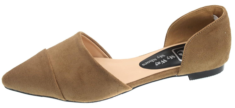 JiYe Suede Shoes Womens Fashion Casual Pointy Toe Flat Shoes