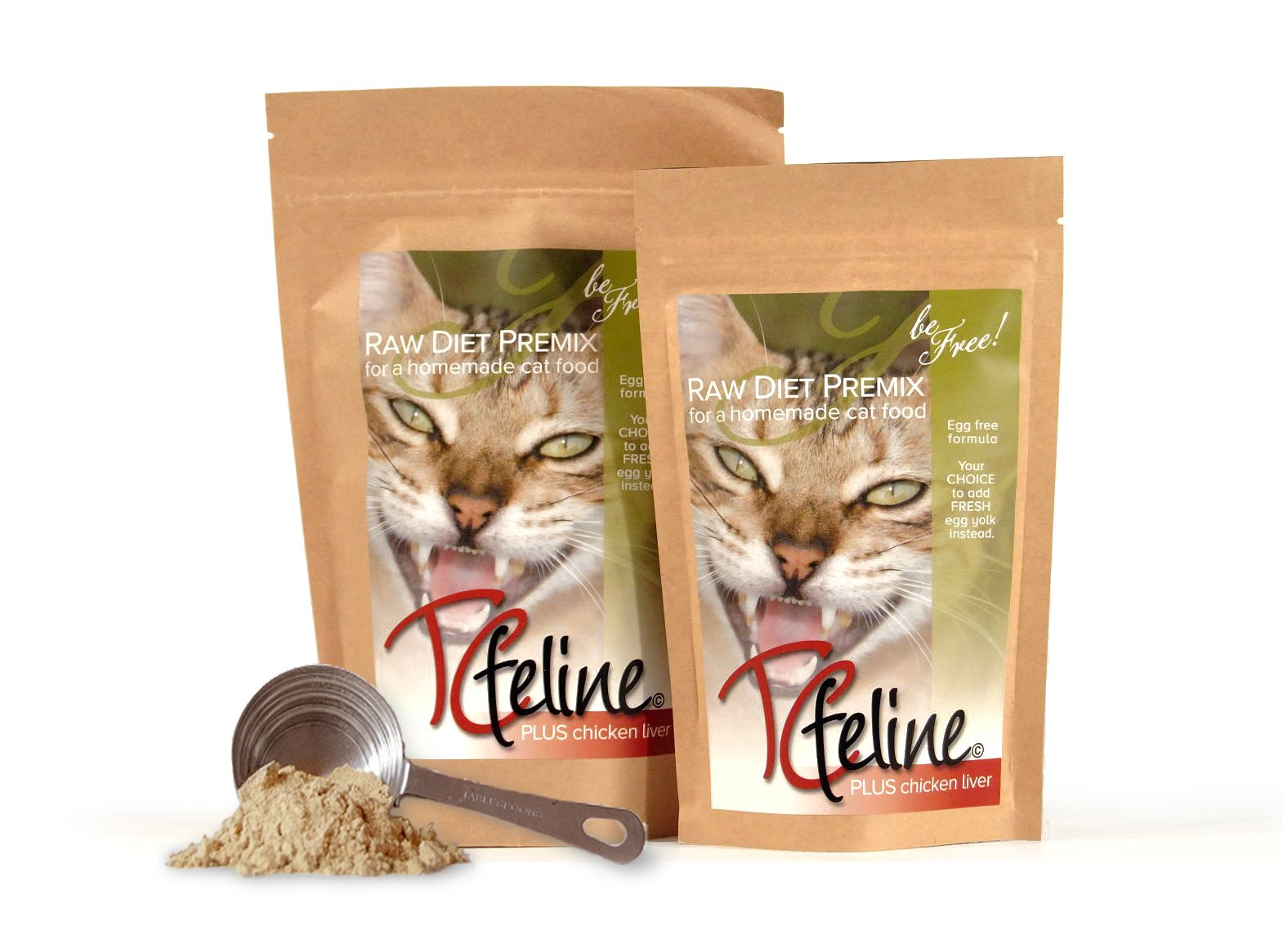 TCfeline Raw Cat Food - A Premix (Supplement) to Make a Homemade raw cat Food Diet. All Natural, Grain Free, Human Grade and Species Appropriate Raw for Cats. (with Chicken Liver - Regular 17 oz) by The Total Cat Store