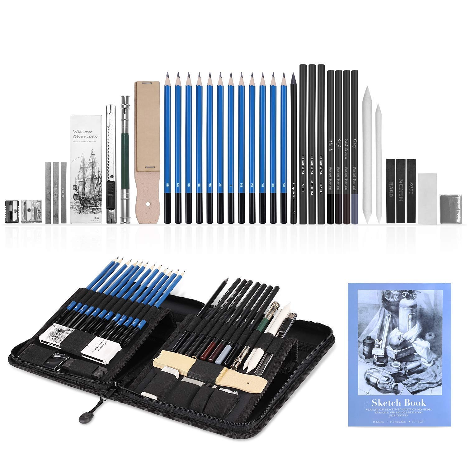 GHB 41Pcs Drawing Pencils Sketching Set Graphite Charcoal Pencils Art Supplies with Pop-Up Stand Erasers Zippered Carry Case Sketch Book