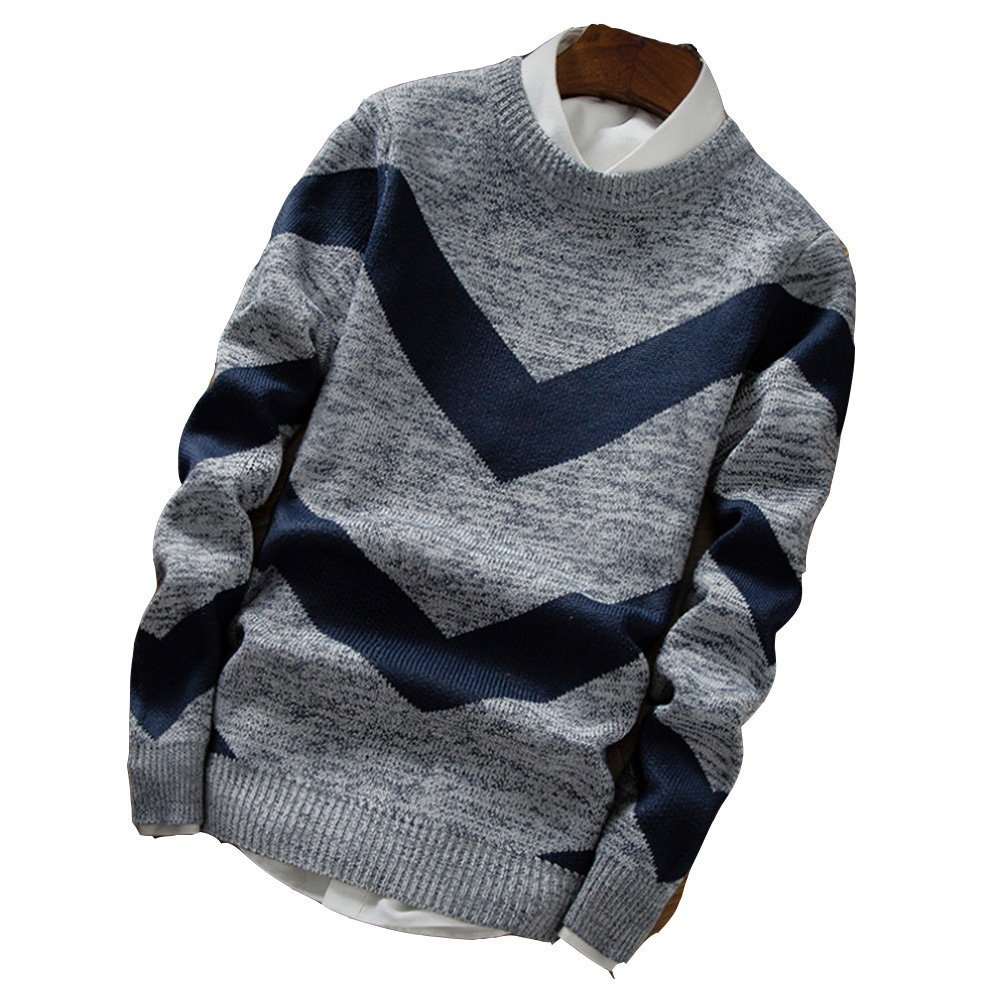 LOG SWIT Mens Sweaters Wool Pullover Men O-Neck Sweater Men Dot Pattern Long Sleeve