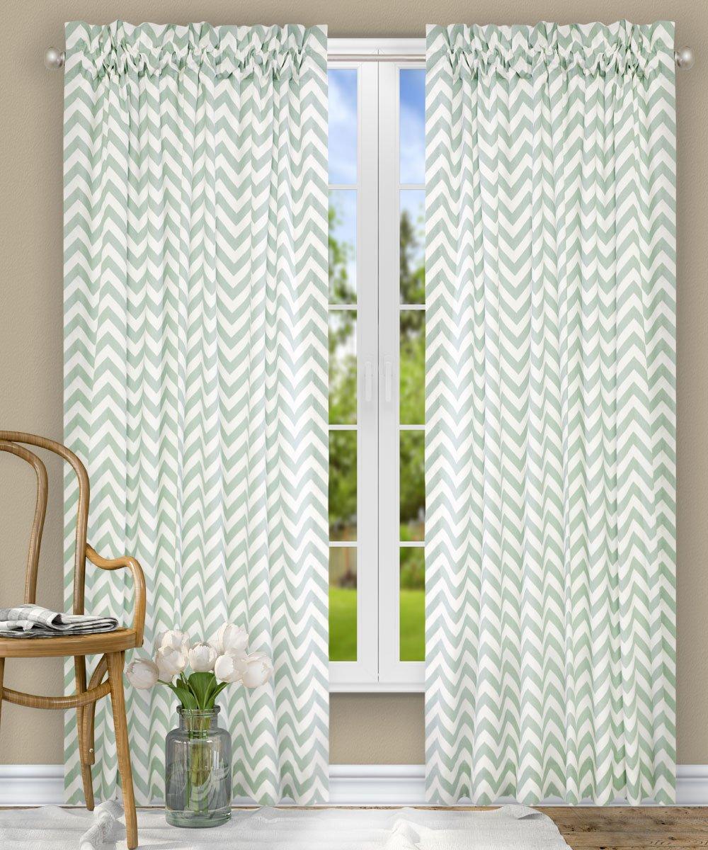 Turquoise 730462115119 Ellis Curtain Reston Chevron Stripe Lined Scallop Valance 50 x 17