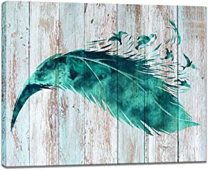 Visual Art Decor Abstract Birds Feather Canvas Wall Art Prints Teal Green Wood Texture Background Gallery Wrapped Ready to Hang for Home Office Bedroom Wall Decoration (16x20)