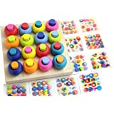 Wood Peg Board and Stacking Toy with Pattern Cards