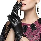 Leather City 手袋 レディース 本革 シープスキン 羊革 女性用 柔らかい レザーグローブ レザー手袋 秋冬コーディネート 小物 大人かわいい 上品 黒