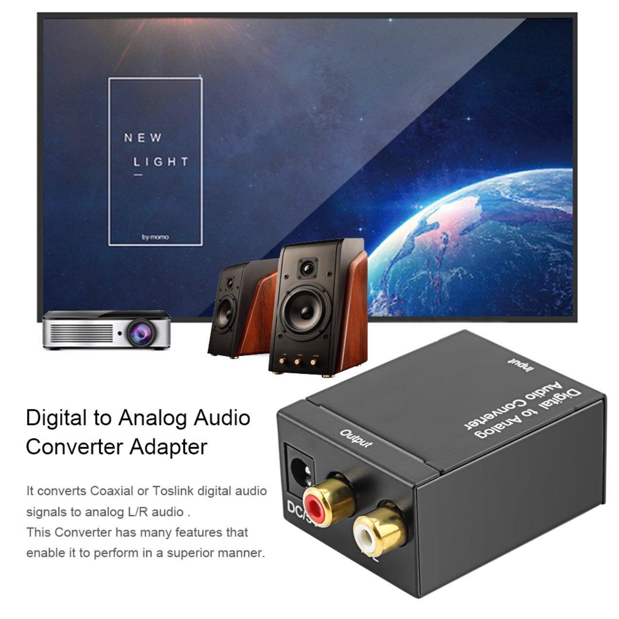 Adaptador de Señal Toslink Coaxial Digital óptico a Analógico Convertidor de Audio RCA Convertidor de Audio Digital a Analógico Negro: Amazon.es: ...