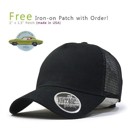 f43de996cd3 Vintage Year Plain Cotton Twill Mesh Adjustable Snapback Trucker Baseball  Cap (Black)