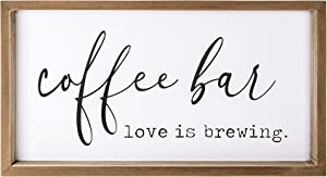 VILIGHT Coffee Bar Accessories Love is Brewing - Farmhouse Coffee Sign Wall Decor for Kitchen - Vintage Wood Coffee Station Decorations for Home Office and Wedding - 16x9 Inches