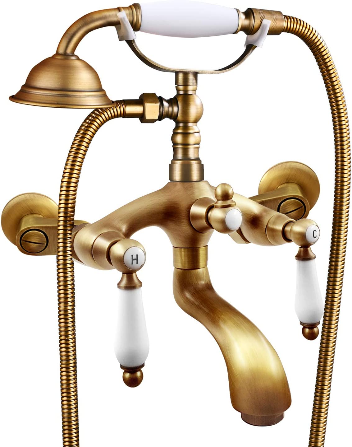 Antique Copper Wall Mount Clawfoot Bath Tub Faucet with Hand Shower Mixer Tap