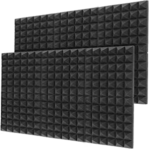 "Little-Lucky Acoustic Foam Panels,SoundProof Padding Foam Panels,2"" X 12"" X 12"" Studio Foam Pyramid Tiles Sound Absorbing Dampening Foam Treatment Wall Panels -12Pack (12Pack, Black)"