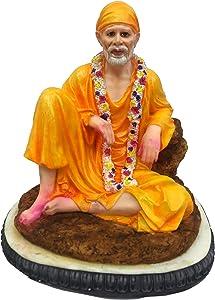"Sri Krishna Culture Sitting Sai Baba Idol/Murti (Coloured)(Height-7.5"") - Hindu God and Goddess Idol/Statue/Murti/Figurine-Polyster Resin-Multicolour"