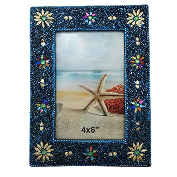 28fbb2933588 Amazon.com   Antique Picture Frame Indian Handmade Lac Beaded Material  Table Topper Photo Frame Home Decor Vintage Style Decorative Picture Frame  Christmas ...