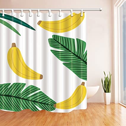 GoEoo Kids Fruit Shower Curtains Cartoon Banana In Floral Leaves Mildew Resistant Polyester Fabric Bathroom Bath