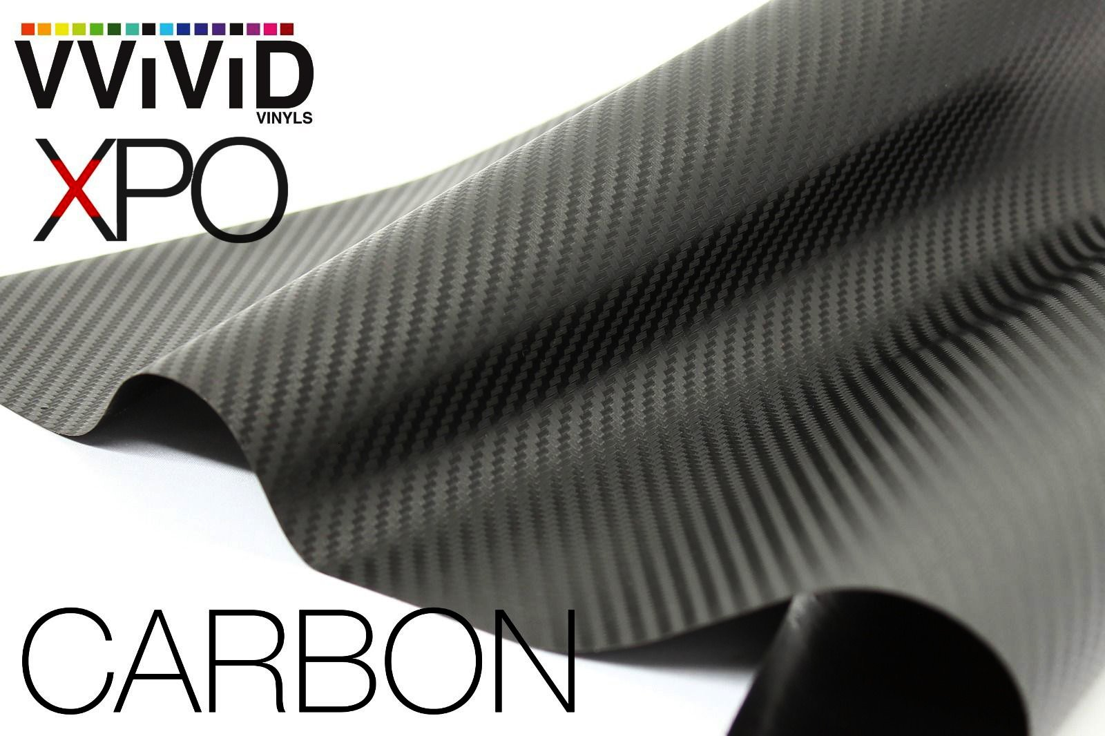 VViViD XPO Black Carbon Fiber Car Wrap Vinyl Roll Featuring Air Release Technology (6ft x 5ft)