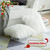 (46cm x 46cm,set of 2, Fur White) - Pack of 2,Miulee Decorative New Luxury Series Merino Style White Fur Throw Pillow Case Cushion Cover for Sofa Bedroom Car 18 x 18 Inch 45 x 45 Cm