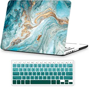 Holilife MacBook Pro Retina 13 Inch Case 2015 2014 2013 2012 Release Model A1425/A1502, Plastic Hard Case Cover Protector with Keyboard Cover Compatible with MacBook Pro 13 - Green Marble