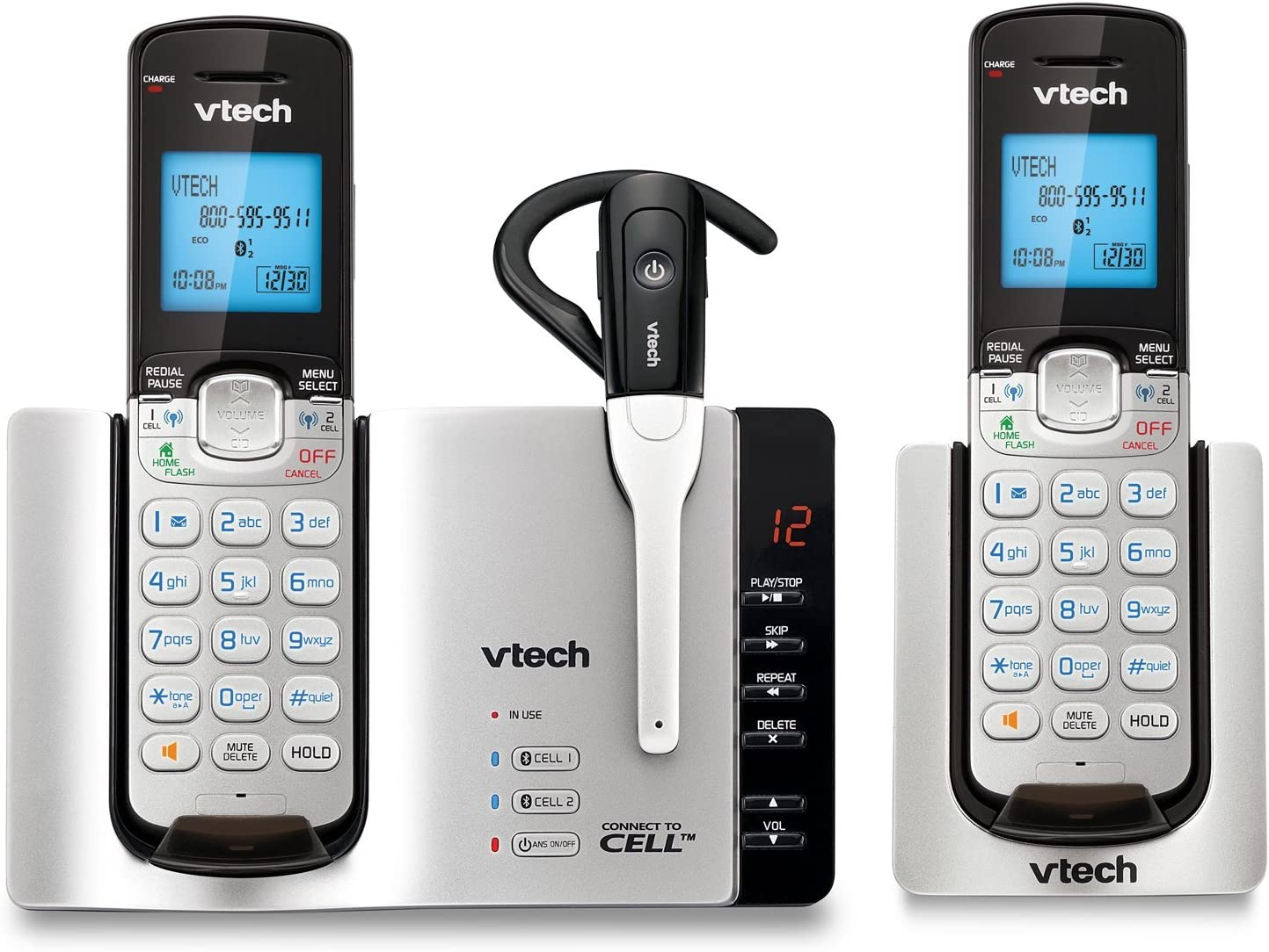 VTech DS6671-3 DECT 6.0 Expandable Cordless Phone with Bluetooth Connect Answering System, Silver/Black with 2 Handsets and 1 Cordless Headset (Renewed)