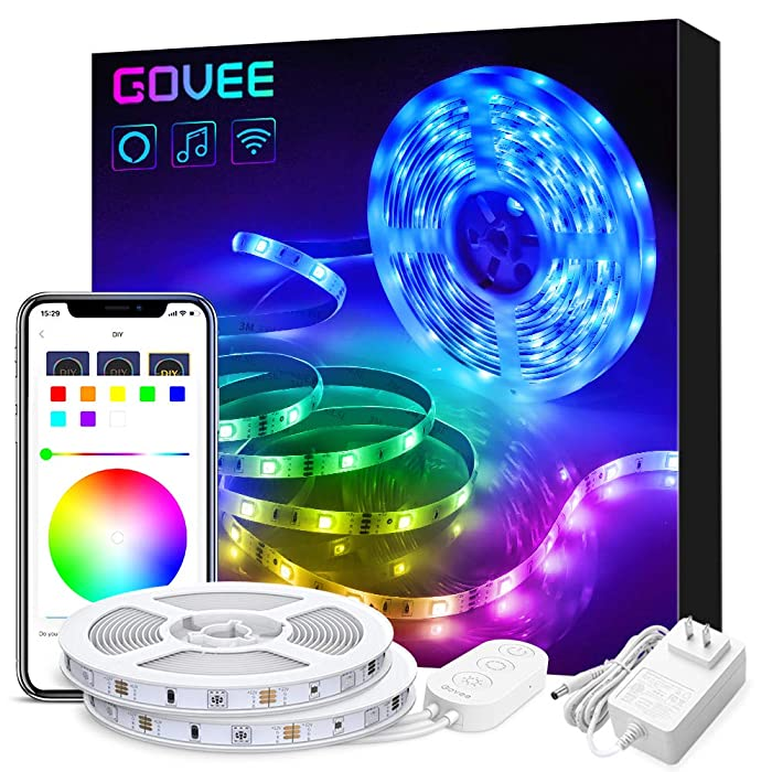 Govee 32.8ft LED Strip Lights Works with Alexa Google Home, Wireless Smart App Control RGB Light Strip Kit Music Sync for Room TV Kitchen Home Party, Bright 5050 LEDs, 16 Million Colors, Easy Install