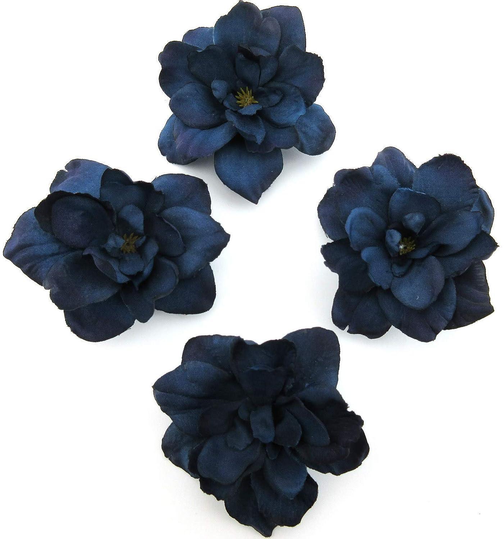 4 pc Lot Navy Blue Apple Blossom Silk Flower Hair Clips