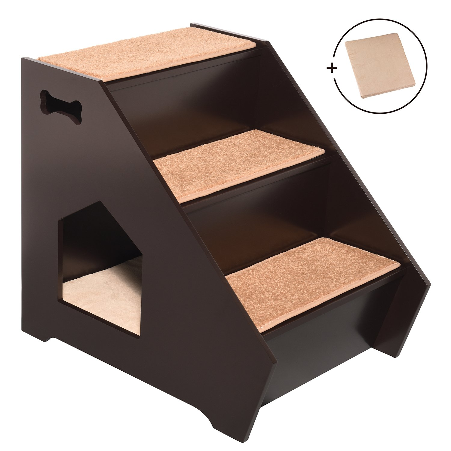 Arf Pets Cat Step House Wooden Pet Stairs w 3 Nonslip Steps, Built-in House for Dogs, Cats Short Pets to Reach Bed, Couch, Window, Car More Extra Bonus Cushion Included