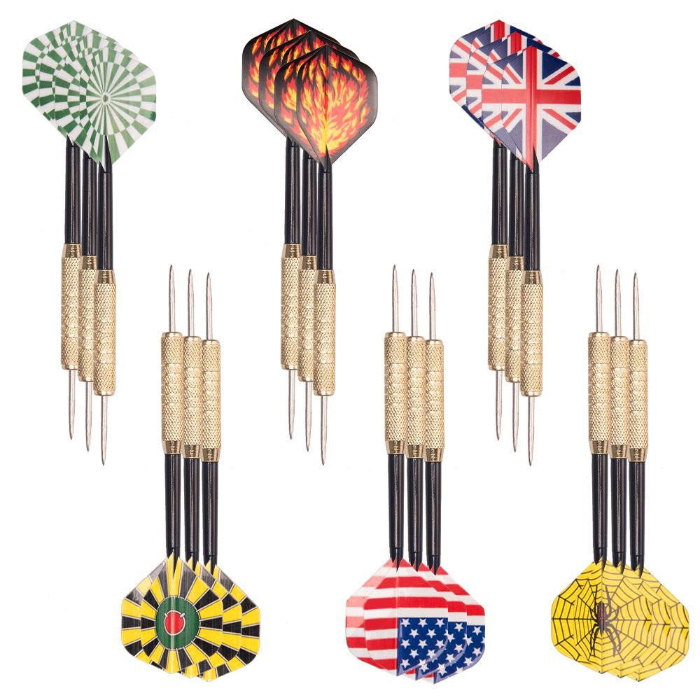 Tebery Steel Tip Darts Set 18 Grams with 6 Style Flights, Aluminum Shafts and Brass Barrels (18 Pack)
